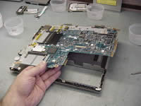 Toshiba Portege A100. Lift up system board.