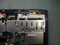 Toshiba Satellite 1200. Remove heatsink cover.