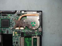 Toshiba Satellite 1200. Remove CPU heatsink.
