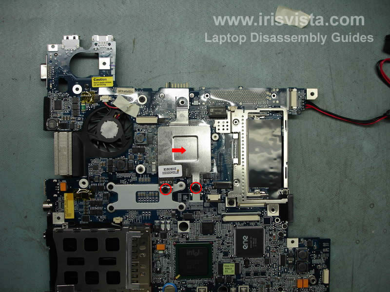 Remove two screws securing the cheap heatsink and