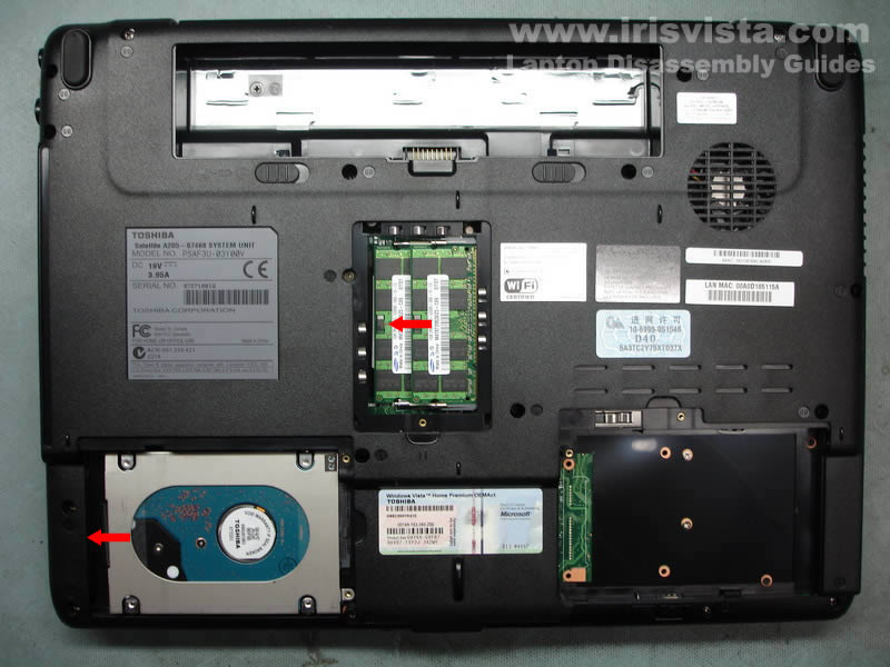 Disassembly instructions for Toshiba Satellite A200 and Satellite A205
